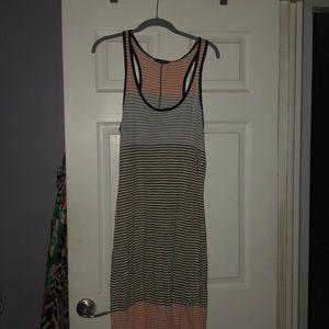 Tan striped maxi dress